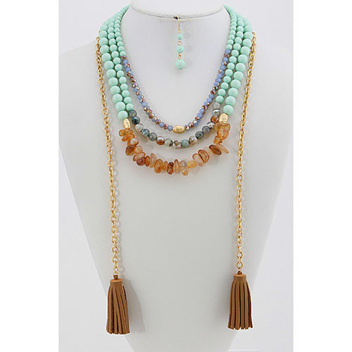 Triple Beaded Strands with Leather Tassels