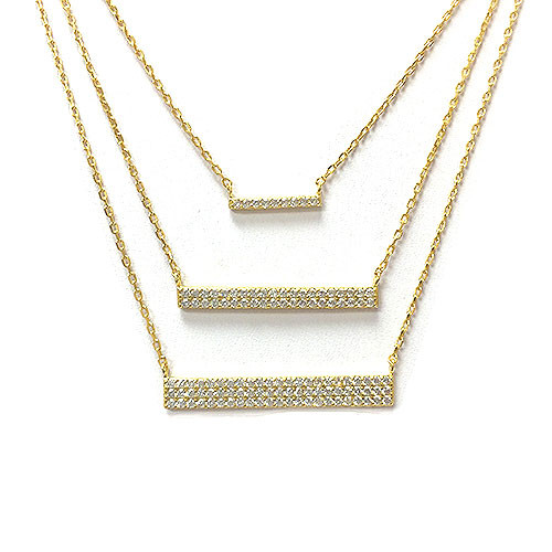 Triple Horizontal C.Z. Layered Bar Necklace 1