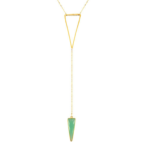 Charlene K's Genuine Aqua Triangle Drop Long Necklace