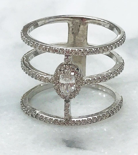Triple Row Oval C.Z. Ring
