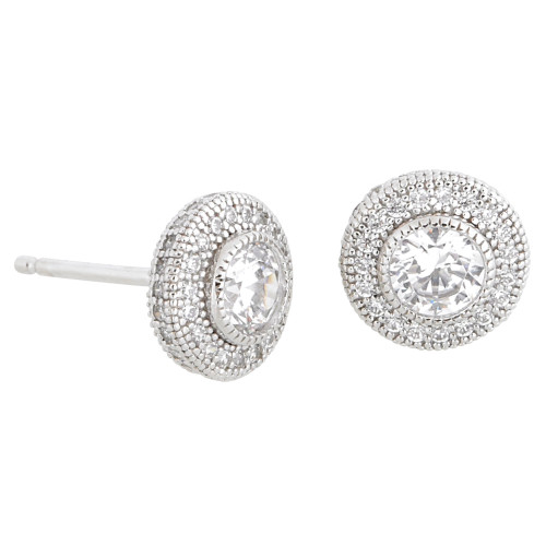 Classic Simulated Diamond Round Stud with Pave Border
