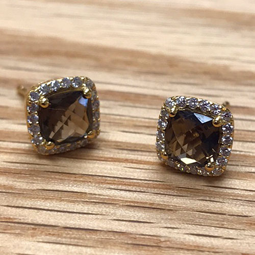 Lafonn's Smoky Topaz Square Earrings