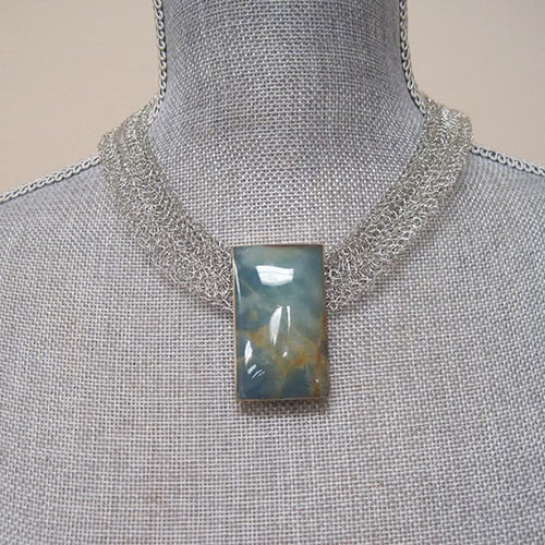 Metal Crocheted Mesh and Onyx Necklace