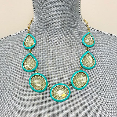 Outlined in Turquoise Bauble Necklace