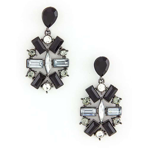 Jeweled Medallion Earring Black