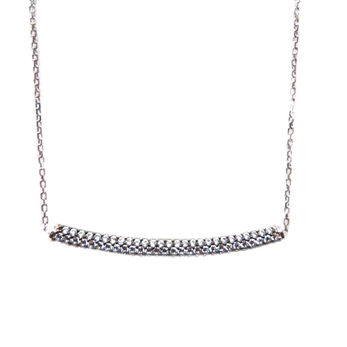 Sterling Cubic Zirconia Curved Bar Necklace