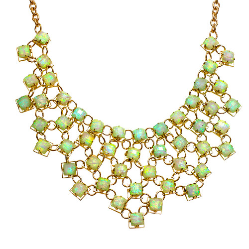 White Opal Chiclet Bib Necklace