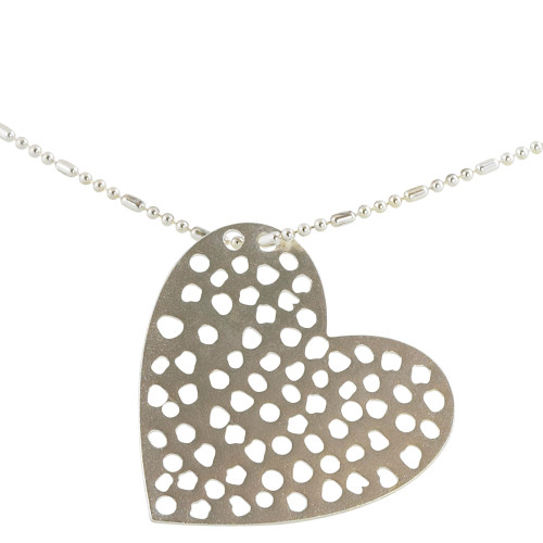 Perforated Silver Heart Necklace