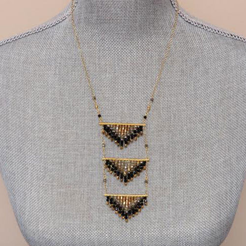 Triple Beaded Triangle Necklace 1