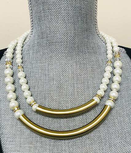 Pearl Baubles and Bars Necklace