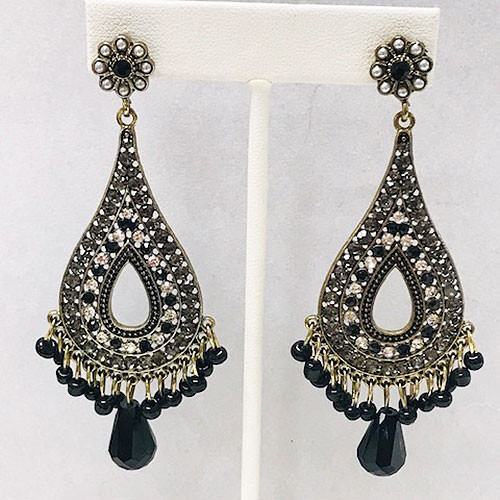 Byzantine Teardrop Earring Black