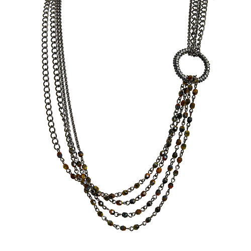 "32"" Multi Chain Draped Necklace"