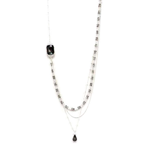 Long Doubled Black Diamond and Silver Chain
