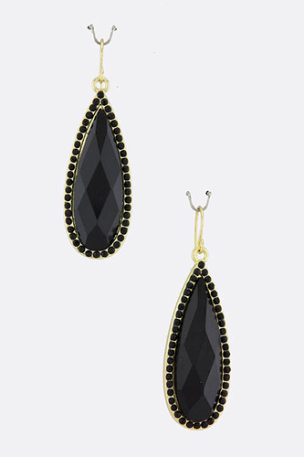 Black Teardrop Earring