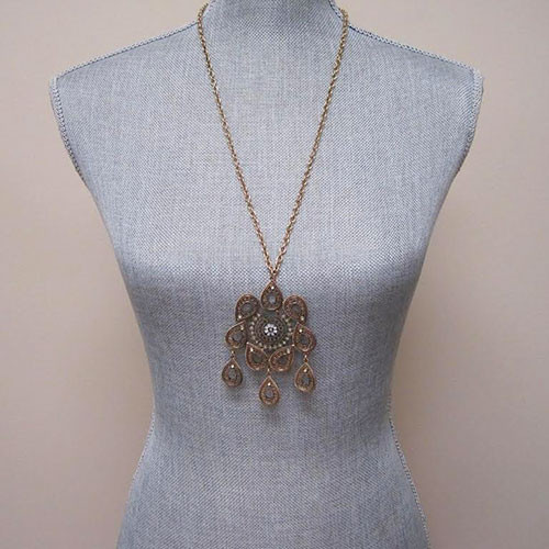 Long Aztec Tribal Flower Pendant