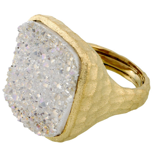 Large Square White Druzy Ring