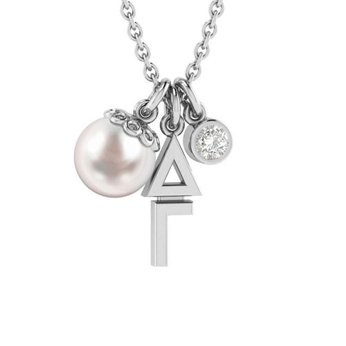 Delta Gamma Silver Triple Charm Necklace