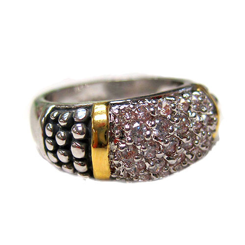 Yuri's Two Tone Pave C.Z. Ring