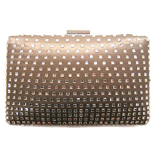 Champagne Satin and Crystal Clutch