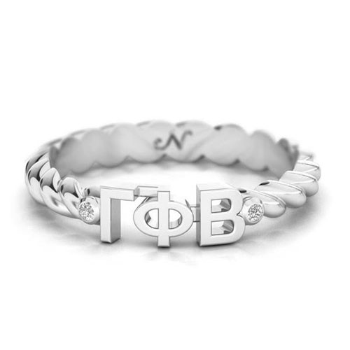 Gamma Phi Beta Silver Pavå© Twist Letter Ring