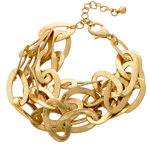 Textured Multi chain Bracelet Gold