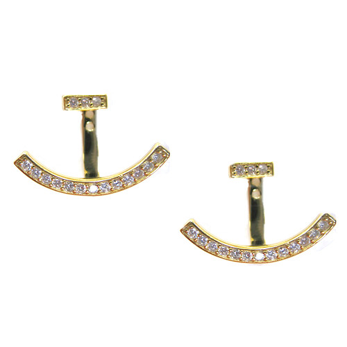 14K over Sterling C.Z. Peek-A-Boo Earring