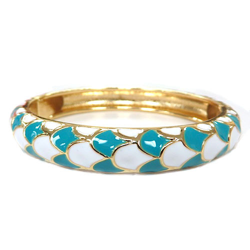 Enamel Turquoise and White Scales Bangle