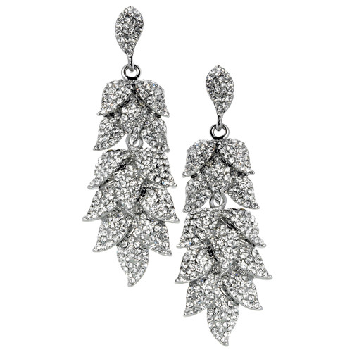 Pave Crystal Leaf Design Earring