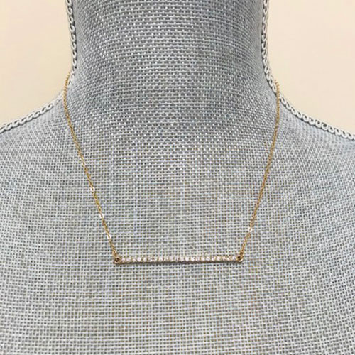 Gold Crystal Bar Necklace