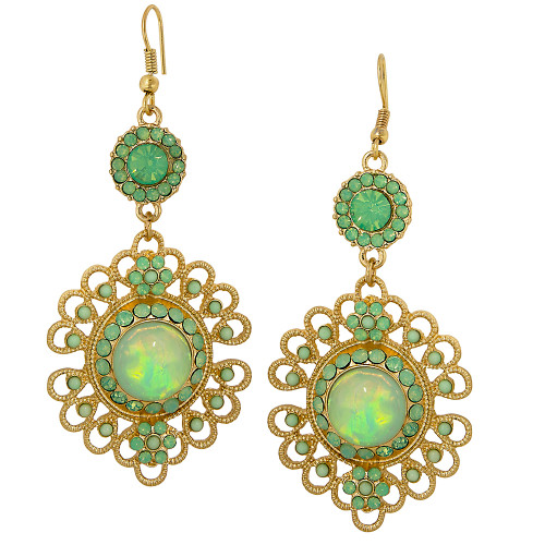 Filigree Flower Earring Green Opal