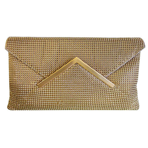Sondra Roberts Gold Metal Mesh Envelope Clutch