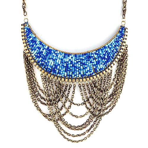 Seed Beads and Chains Bib Necklace
