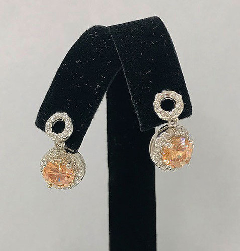 Topaz Circle Petite Drop Earrings Silver