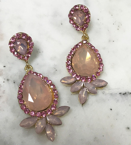 Pink Alabaster Teardrop Dangle