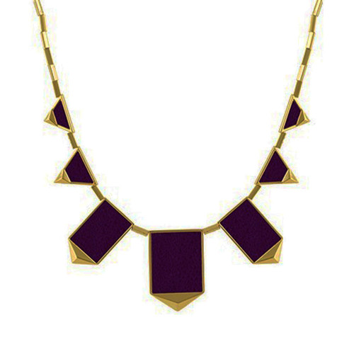 House of Harlow Aubergine Station Pyramid Necklace