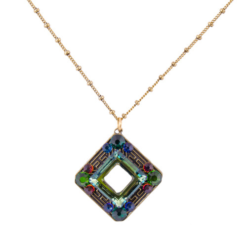 Swarovski Green Open Square Pendant
