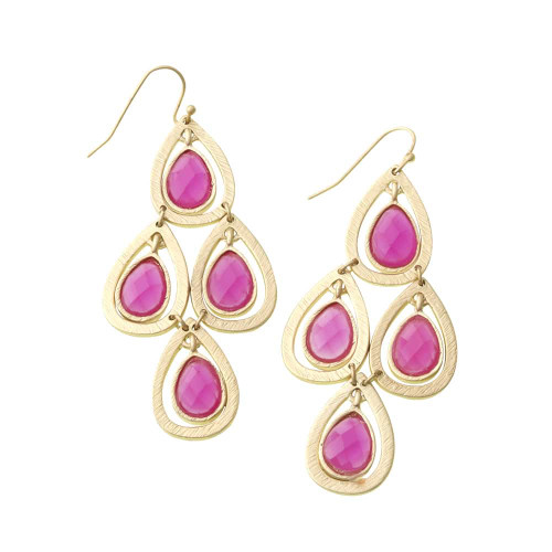 Chandelier Style Fuchsia Lotus Leaf Earring