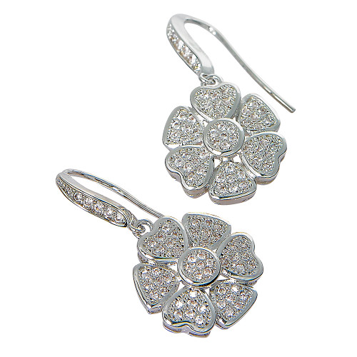 C.Z. Flower Dangling Earring