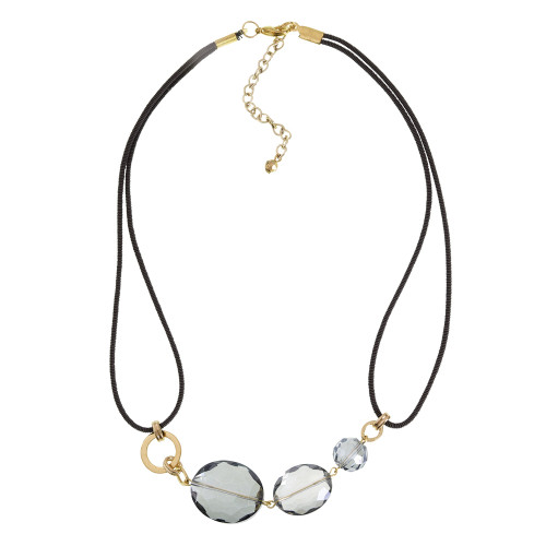 Debra Grivas's Three Gray Crystal Oval Necklace