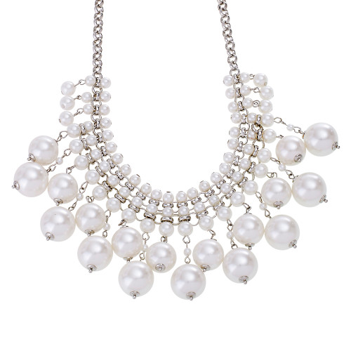 Stacked Pearl Statement Necklace in Silver