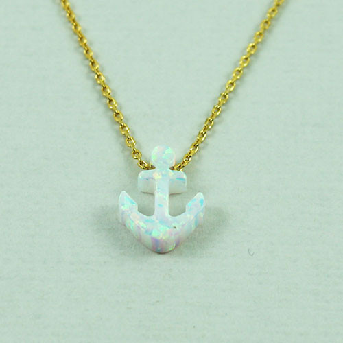 White Opal Resin Anchor Necklace