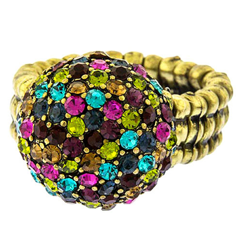 Pave Jewel Tone Pom Pom Ring