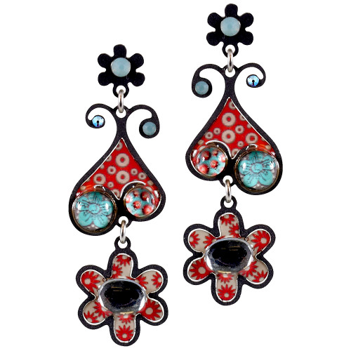 Coral Designer Paisley and Flower Earring