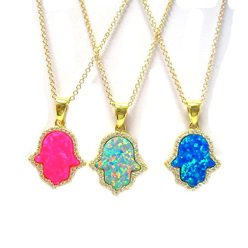 Hot Pink Opal Hamsa C.Z. Necklace