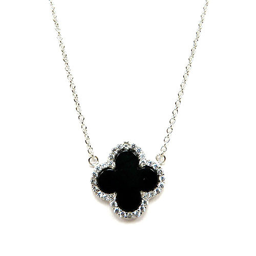 Black Onyx Clover Necklace