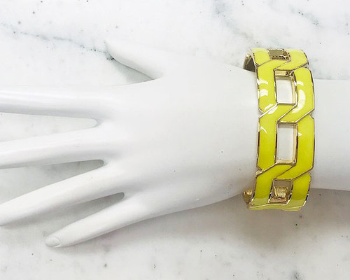 Flat Linked Cuff Bracelet Neon Yellow