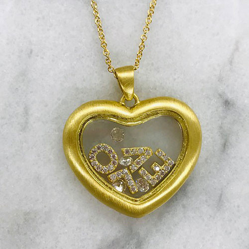 Matte Gold Floating L-O-V-E Necklace
