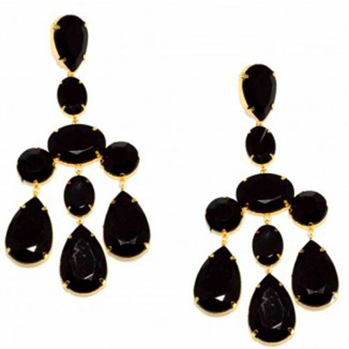 Large Black Stone Earrings