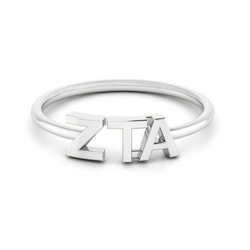 Zeta Tau Alpha Silver Thin Band Letter Ring