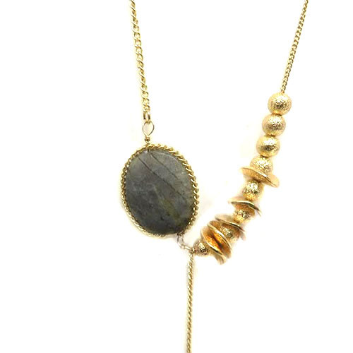 Long Chain With Moss Agate Stone